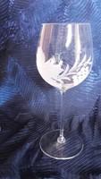 Ajkai kristálypohár készlet, kézzel csiszolt szőlőmintás 6db