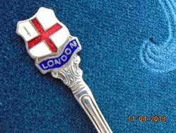 """Zománc betétes nyéllel-ezüstözött-E.P.N.S.fűszeres kiskanál-""""LONDON"""" felírattal-9,2 cm"""