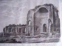 Vénusz templomának romjai, ahogyan az 1800-as évek elején látták. 19. sz. eleji metszet