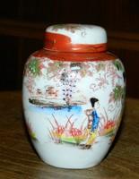 Japán - kézzel festett -  Gésa fedeles urna alakú tároló