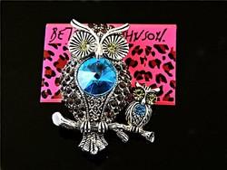 Betsey Johnson kék Baglyok bross
