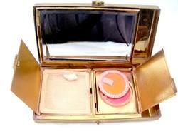 Ritka, antik púderes, pirosítós szelence, dobozka, fazettált tükörrel,írat és névjegykártya tartóval