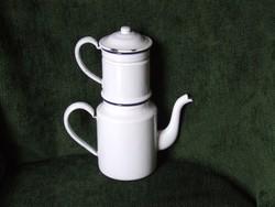 Régi, zománcos kávéfőző és kiöntő ritka