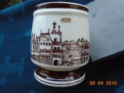 Hibátlan Hollóházi sörös kupa BUDA látképével-11,5x9,2 cm