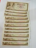 1968 aUNC sorszámkövető 10 dinár  11db.