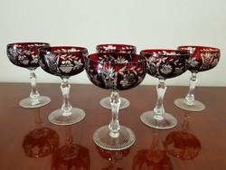 Ajkai kristály boros pohárkészlet  6 személyes