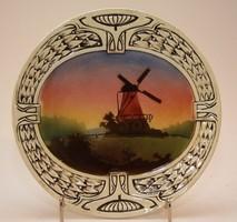 Szélmalom porcelán tányér