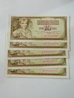 1968 aUNC sorszámkövető 10 dinár 5 db.