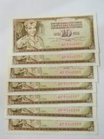 1968 aUNC 10 dinár sorszámkövető 7 db.