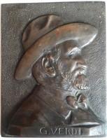 Giuseppe Verdi Olasz zeneszerző bronz dombormű képe mérete :11cmX14cm