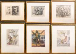 6 darabos Herman Lipót grafika gyűjtemény