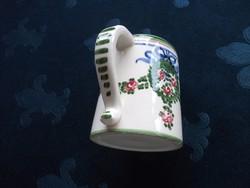 Girlandos rózsás masnis antik kézzel festett majolika kupa-10x8 cm
