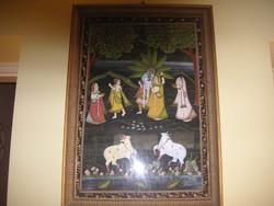 Indiai selyem festmény