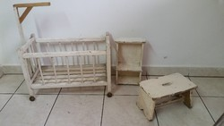 Fa játék kis ágy, hokedli,kis szekrény eladó!