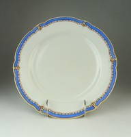 0Q910 Antik kék szegélyes porcelán lapostányér