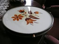 Antik, kézzel festett, jelzett porcelán forgó kínáló tál eladó 30 cm