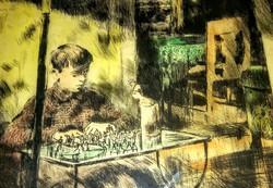 Antik rézkarc katonákkal játszó kisfiú