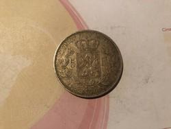 1870 ezüst belga 5 frank 25 gramm 0,900