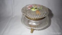 Festett réz szerelékes öreg üveg bonbontartó doboz