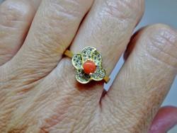 Szépséges régi valódi korallos ezüstgyűrű