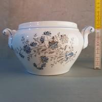 Kék mezei virágmintás porcelán leveses komatál