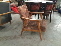 Retro fakarfás fotel kárpitozott szék