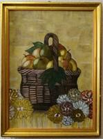 Csendélet festmény 1935-ből, keretezve.