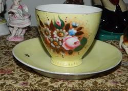 Ca.100 éves kézzel festett pihekönnyű csésze +alátét tányér
