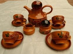 Zell am Harmersbach kézzel festett  cserép teás - kávés készlet