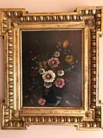 Antik Biedermeier különleges formavilágú ökörszemes keretben virágcsendélet