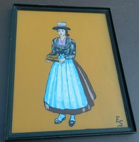 Holland üvegfestmény ES szignóval