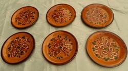 Zell am Harmersbach kézzel festett cserép sütis tányér készlet