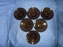 Francia Vereco barna üveg csészealj 6 darab