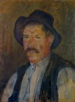 """Körmendi-Frim Ervin ( 1885-1939) """" Kalapos férfi portréja """""""