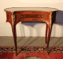 Gyönyörű rézveretes,intarziás,vese alakú, empire stílusú női íróasztal!