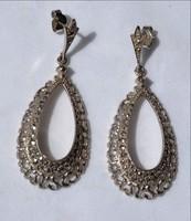 Ezüst fülbevaló markazit  kővel