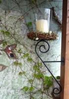 Dekoratív vas gyertyatartó üveg kaspóval
