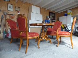 Biedermeier garnítúra(Fotel,szék,asztal)