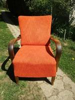 Hajlított karfás art deco rumba fotel szép erezetű fával,szép huzattal