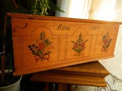 Anno 1833 -ból : antik fa ceruza vagy irattartó népi virágmintás fadoboz doboz