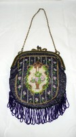 Gyöngyhímzett estélyi táska, szattyánbőr béléssel, pénztartóval, tükörrel