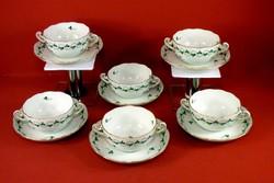 Herendi leveses csésze+tányérja 6 db. petrezselyem mintás