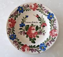 """Antik tányér Pannonia Kislőd keménycserép falitányér """"Siófoki Emlék"""" feliratos"""