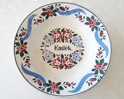 """Antik Wilhelmsburgi fajansz tányér falitányér """"Emlék"""" feliratos 23 cm"""