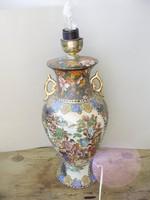Antik dúsan aranyozott váza alakú kínai porcelán lámpa,gyönyörű szófestő jelenettel