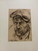 Juhász Erika 1926-2018 festőművész korai rajza, aláírás, és dátum.