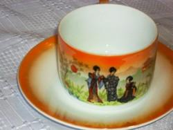 Zsolnay gésa teás csésze tányérral