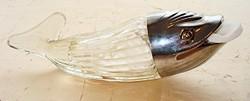 Halacska alakú üveg tároló, kínáló