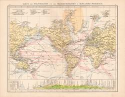 Világtérkép, világforgalom térkép 1881, német, eredeti, régi