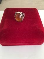 Antik ezüst borostyán gyűrű 925 fémjelzés